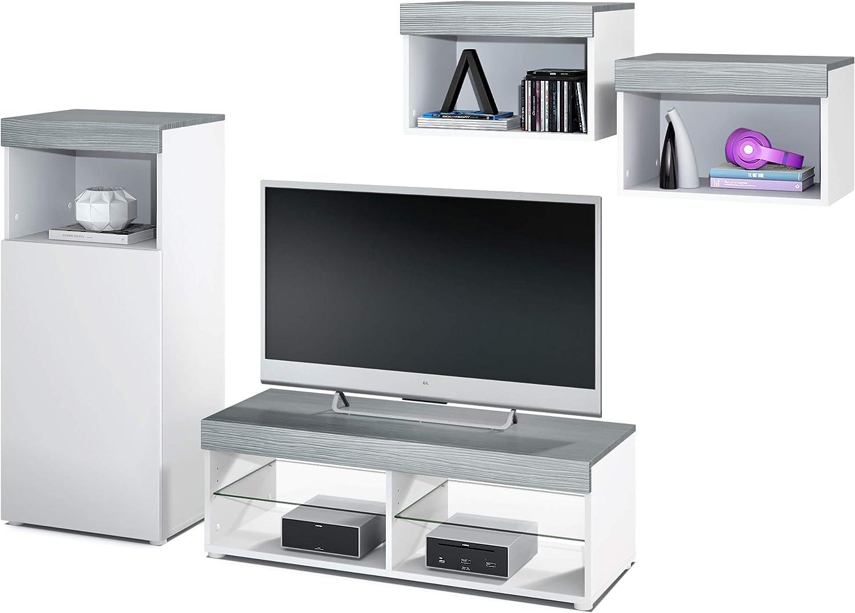 Conjunto de Muebles de Pared Pure, Cuerpo en Blanco Mate/Partes Superiores y Paneles en avola Antracita   Amplia selección de Colores: Vladon: Amazon.es: Hogar