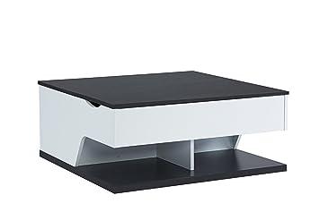 More Design Table Basse Panneau Et Pvc Blanc Noir 79 X 53