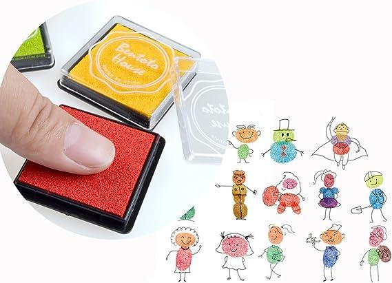 Txyk 20 Colores Rainbow Finger Ink Pad para niños Craft Ink Pad Sellos Partner DIY Color 4 * 4 cm: Amazon.es: Hogar