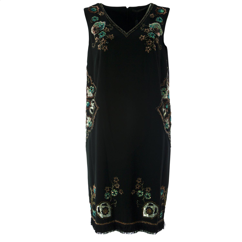 Marina Rinaldi Women's Diadema Embellished Shift Dress 22W / 31 Black