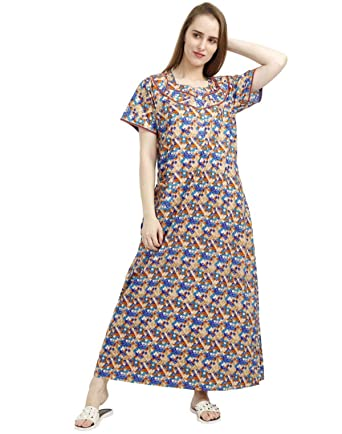da83a734b6 Nighty House Womens 100% Cotton Full Length Nightwear  Amazon.in ...