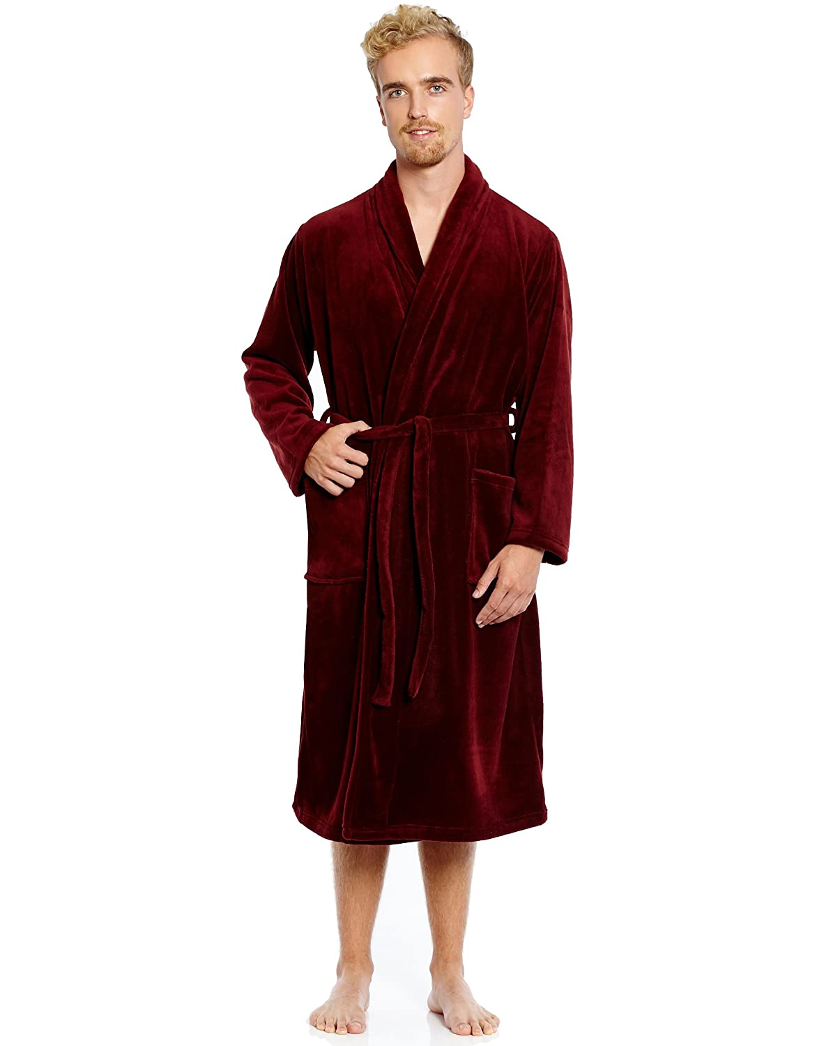 Leveret Mens Robe Soft Micro Fleece Plush Shawl Collar Bathrobe Robe (Size  Small-XXLarge) at Amazon Men s Clothing store  20bb35fba