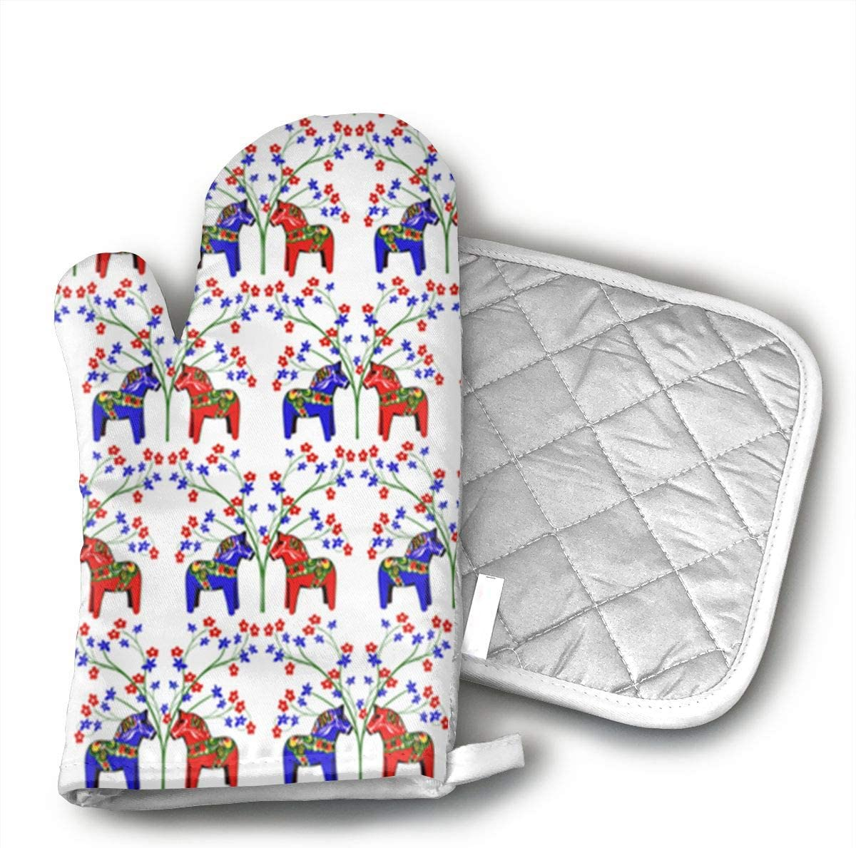 W3Zap6 Floral Swedish Dala Horses Oven Mitts BBQ Oven Gloves Baking Pot Mitts for Kitchen Cooking