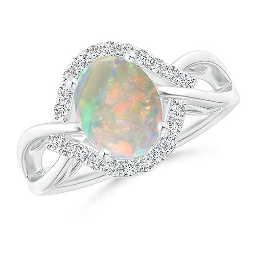 Angara Solitaire Pear Cabochon Opal Split Shank Ring in Rose Gold QFjQsd7gj