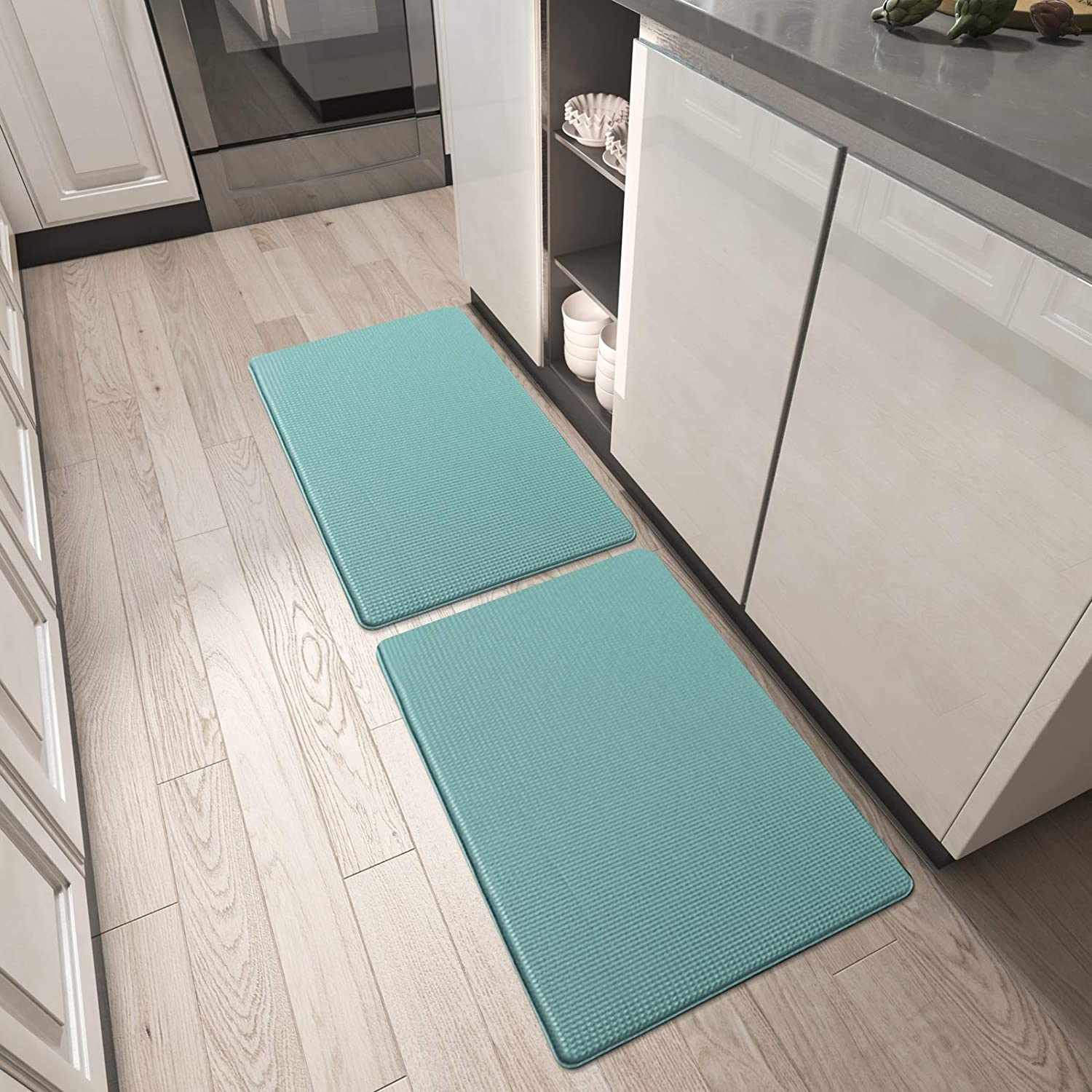 DEXI Kitchen Rugs and Mats, Cushioned Anti Fatigue Comfort Mat, 2/5Inch Waterproof Non Skid Standing Kitchen Rug Set, 17