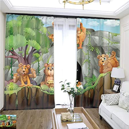 Cortina de dibujos animados serie cuatro fondos con caras divertidas W72 x L72 puerta corredera aislante super amplia cortina cortinas de alta precisión para dormitorios, salones, cocinas, etc.: Amazon.es: Hogar