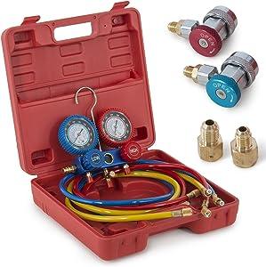 ARKSEN Manifold Gauge Colored Hose Air Conditioner Refrigerant R134a R12 R22 AC A/C