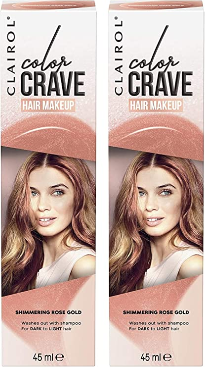 Clairol Colour Crave - Maquillaje para el cabello no permanente, oro rosa, 45 ml, 2 unidades