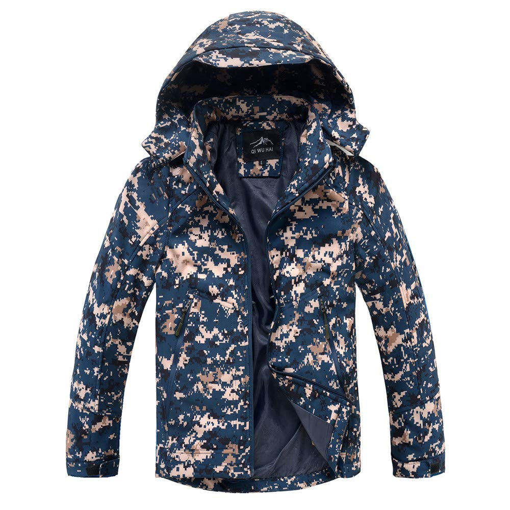 Sunhusing Mens Outdoor Camouflage Clothing Hooded Soft Shell Jacket Zipper Pocket Outfits Sports Coat at Amazon Mens Clothing store: