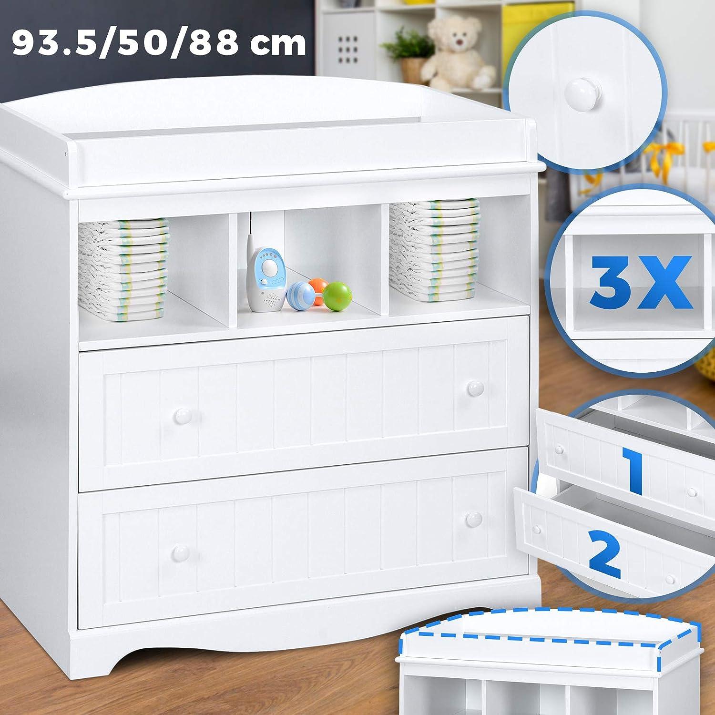 Wickeltisch Aufsatz Baby M/öbel Kommode Wei/ß Wickelregal Organizer Wickelkommode Wickelschrank LxBxH 93,5x50x88 cm inkl 2 gro/ßen Schubladen und 3 F/ächer Wickelaufsatz