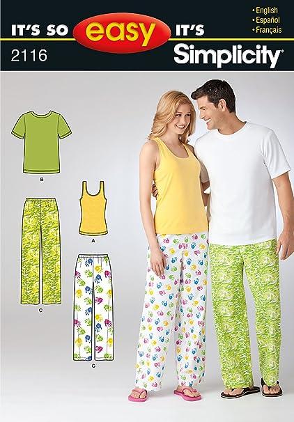 Simplicity Its So Easy 2116 - Patrones de costura para pijamas (tallas 34 a 44