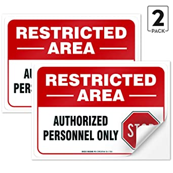 Amazon.com: (2 unidades) zona restringida Sign, 10 x 7 ...