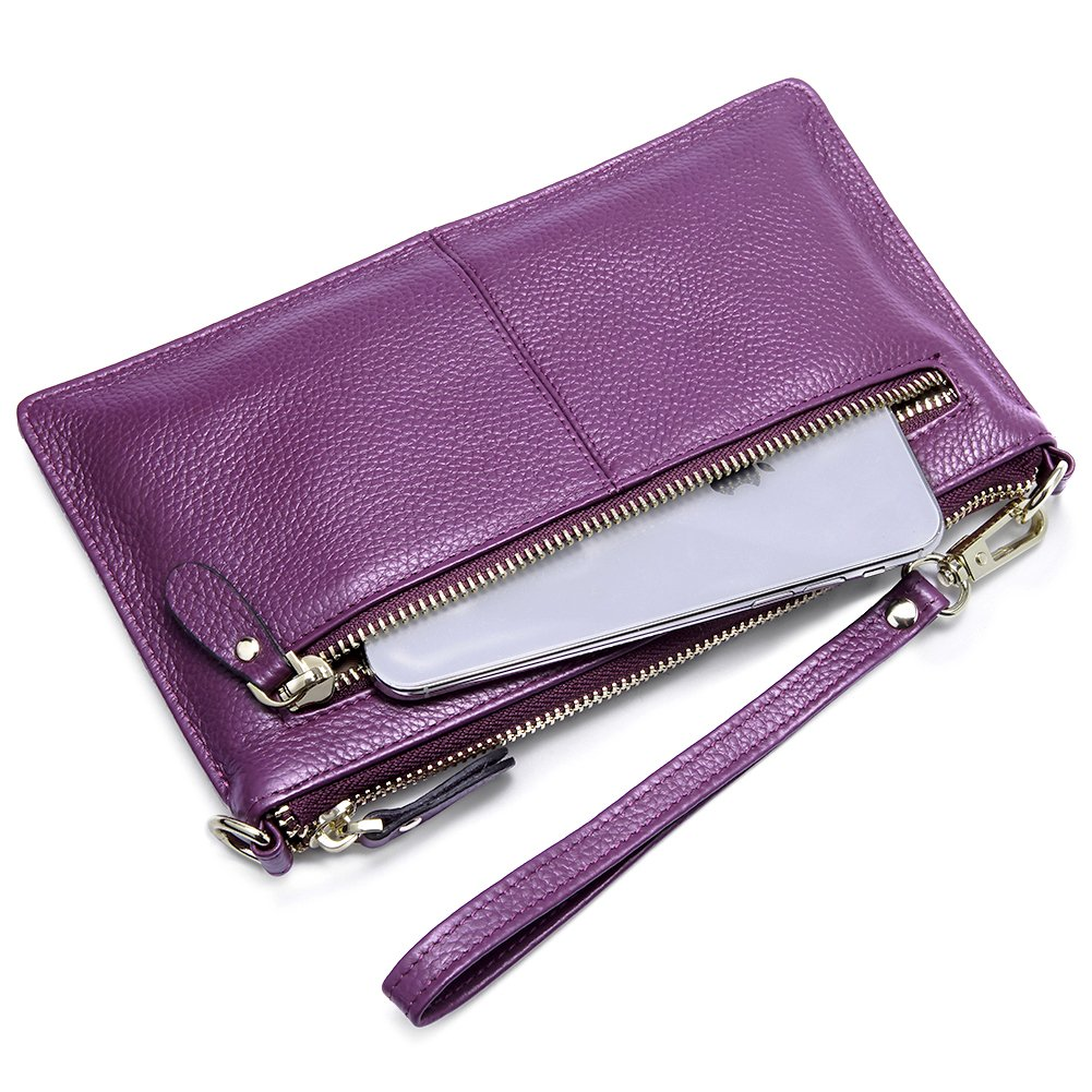 BOSTANTEN Womens Leather Cell Phone Purse Wristlet Clutch Wallets Chain Handbag Crossbody Wallet for Women Purple by BOSTANTEN (Image #7)