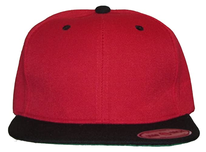 bbbd63df508f5 New Plain Snapback Baseball Caps Flatbill Two Tone Red Black Bill at ...