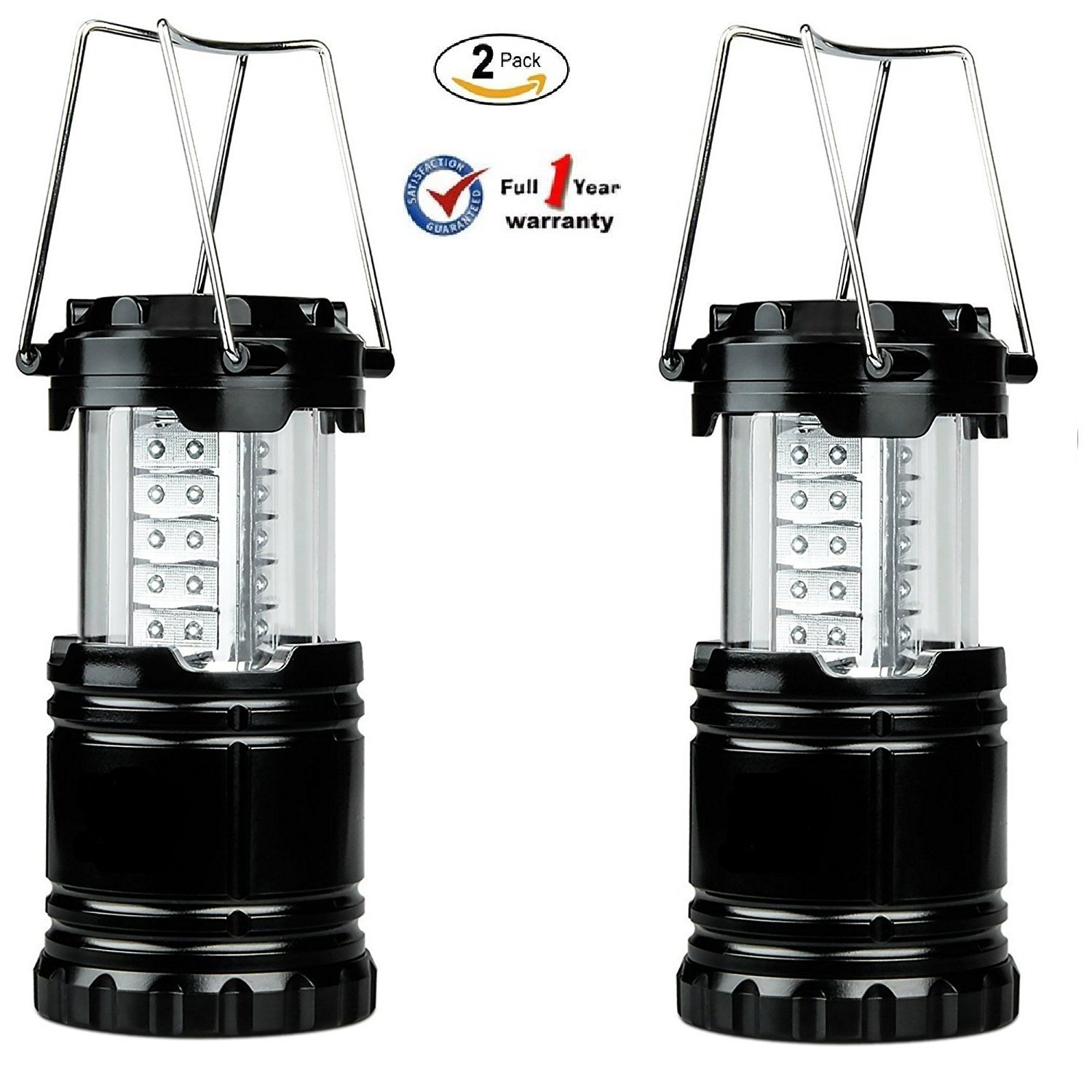 Ultra Bright LED Camping Light, Outdoor Waterproof Flashlight Hiking Light, Portable Collapsible Portable Outdoor LED Camping Lantern (2 Pack)