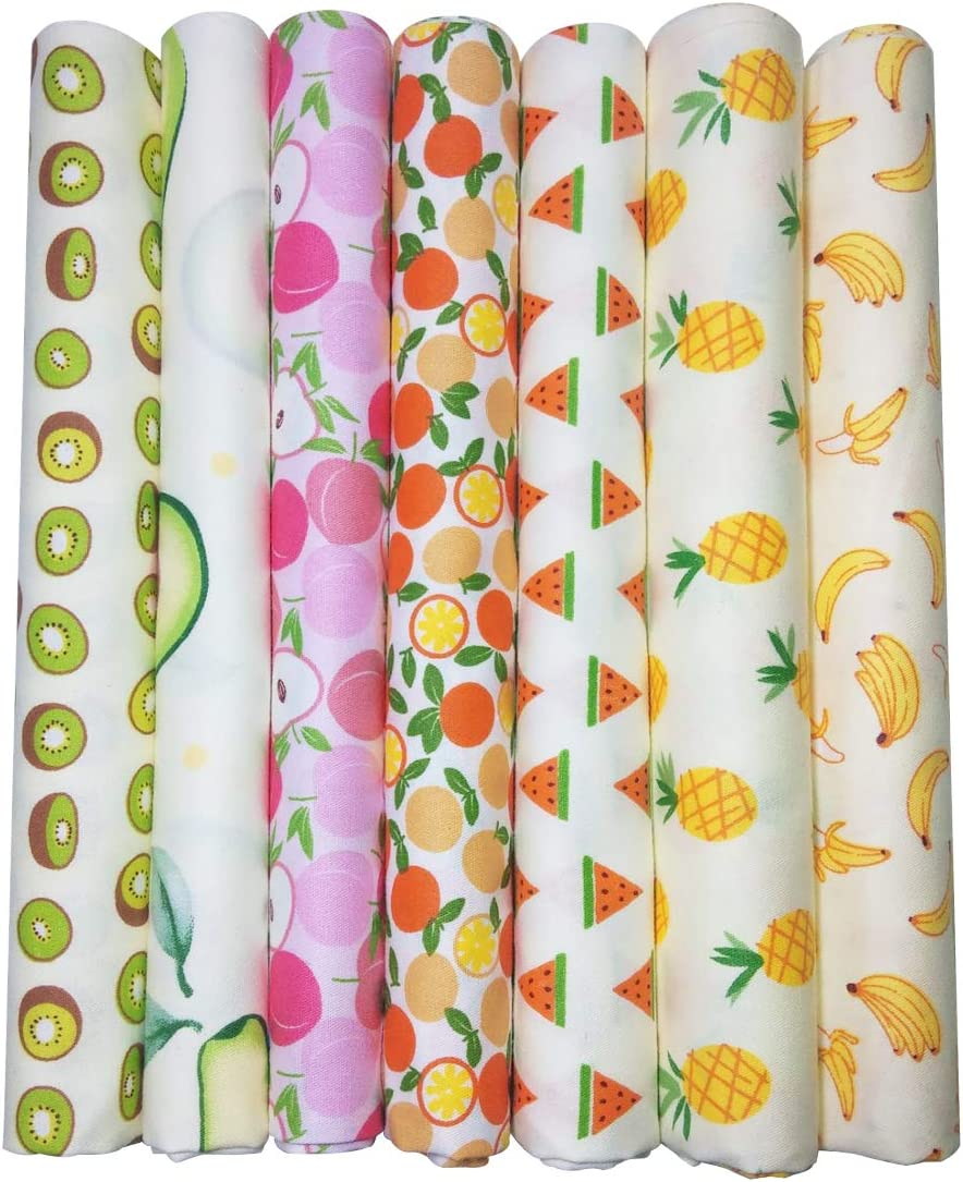 "Qililandiy 7 Pcs Printed Fruits Cotton Fat Quarters Fabric Bundle Quilting Fabric for DIY Sewing Crafts 18"" x 22"""
