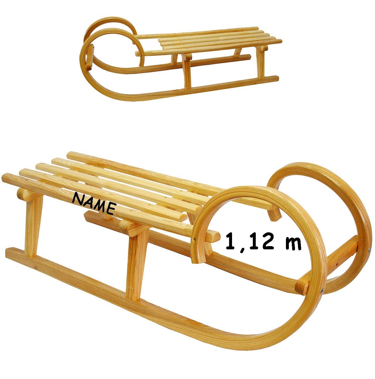 großer Holzschlitten / Hörnerschlitten - 1,12 m lang - aus stabilen Holz - incl. Name - für Kinder & Erwachsene - universal passend - Lattensitz Schlitten - Kinderschlitten / Erwachsenenschlitten- Davoser - Davos / Babyschlitten Hörnerrodel - Rodelschlitten / Rodel