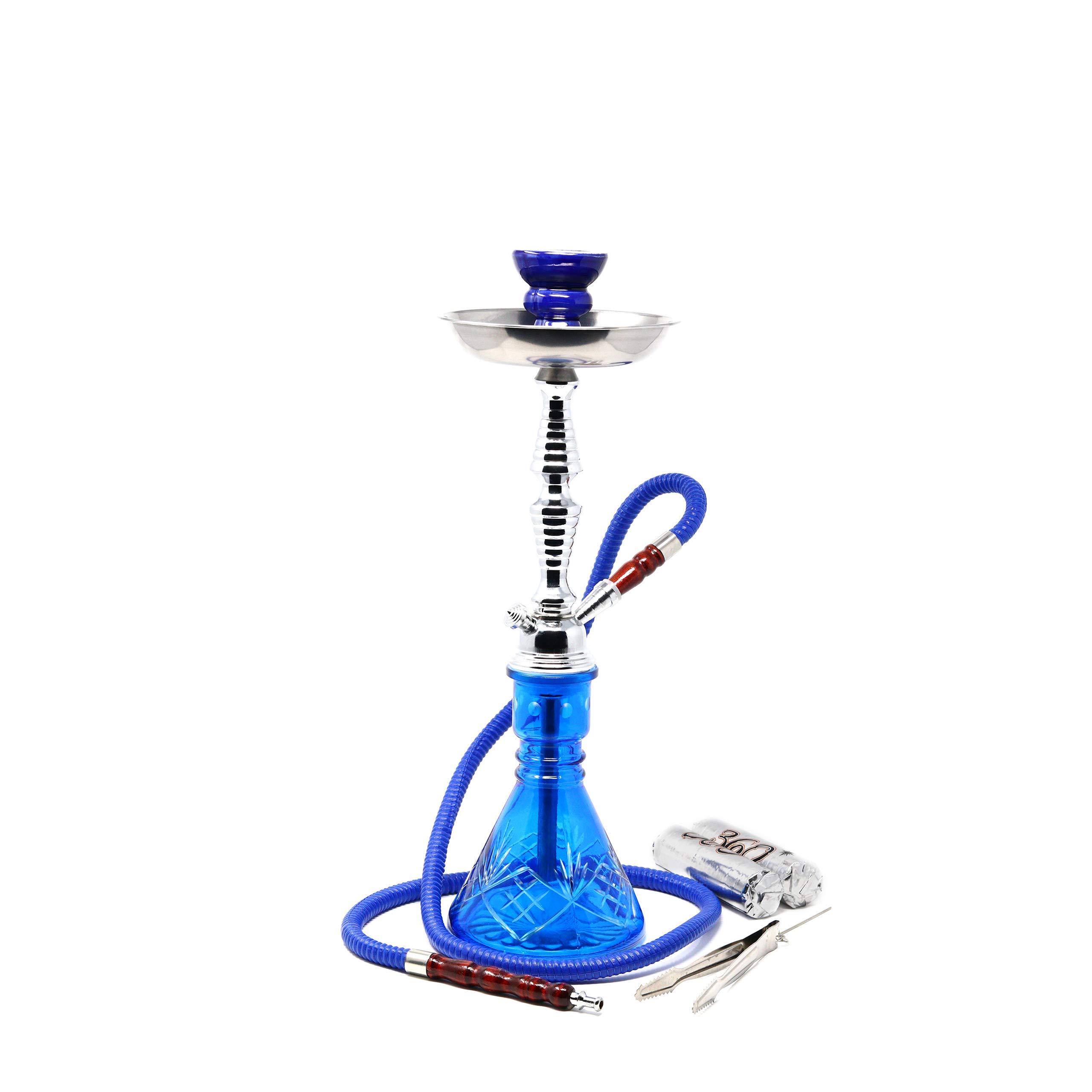 19 Inches Deezer Complete Hookah Set, Modern 1 Hose Hookah Kit with Hookah Accessories and Premium Shisha Coals 20 Tablets Blue Hookah Kit