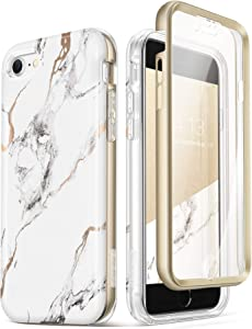 GVIEWIN Aurora+ Case Compatible with iPhone SE 2020/iPhone 8 /iPhone 7, [Built-in Screen Protector] Full-Body Protection Stylish Slim Marble Cover Shockproof Bumper Case, 4.7 Inch (White/Gold)