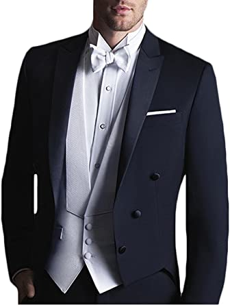 Newdeve Mens Silver 3 Pieces Formal Suits One Button Slim Fit Business Wedding Party Suits