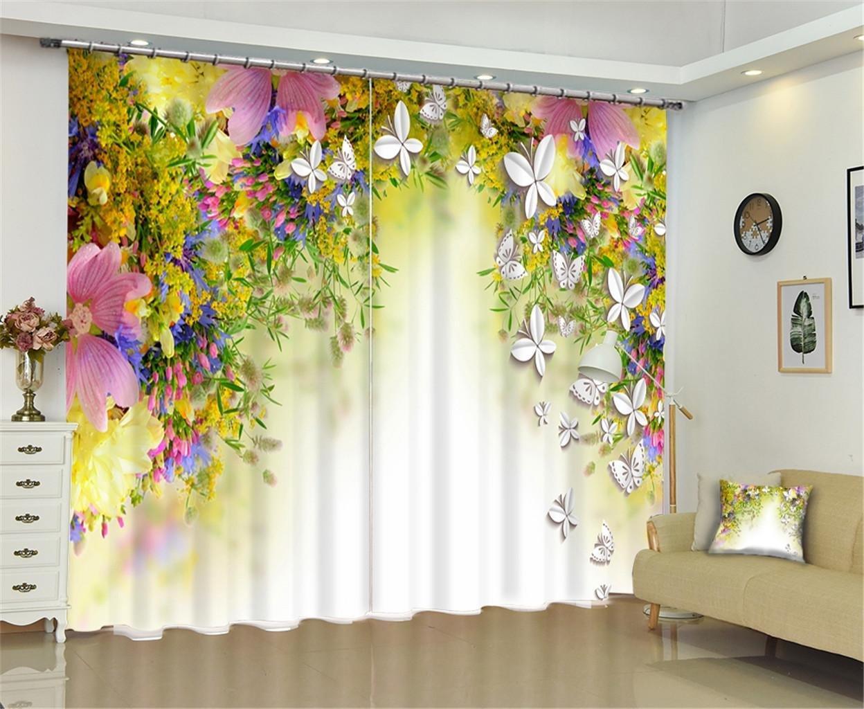 klddzq 100 %ポリエステル遮光カーテン、3d Floral Wildflowerデザインウィンドウブラインドブロックアウト90 % Sunlight /熱ブラックアウト、紫外線対策、防止ノイズ、輻射防止、寝室リビングルーム装飾 142*106 inch 98745123 142*106 inch  B0789XLF7L