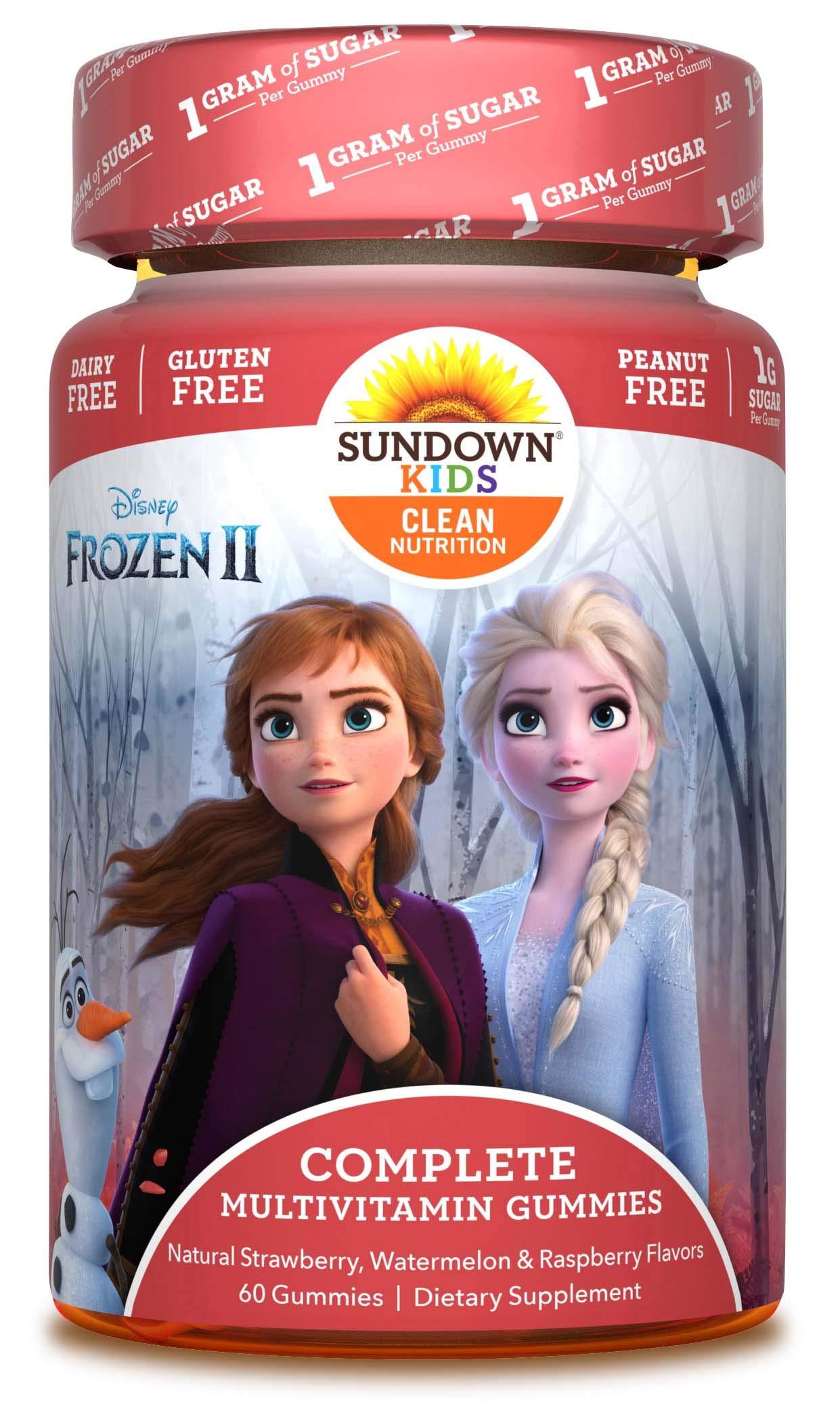 Sundown Kids Disney Frozen 2 Multivitamin Gummies, Vitamins A, C, D, E, Gluten-Free, Dairy-Free, Peanut-Free, 60 Count