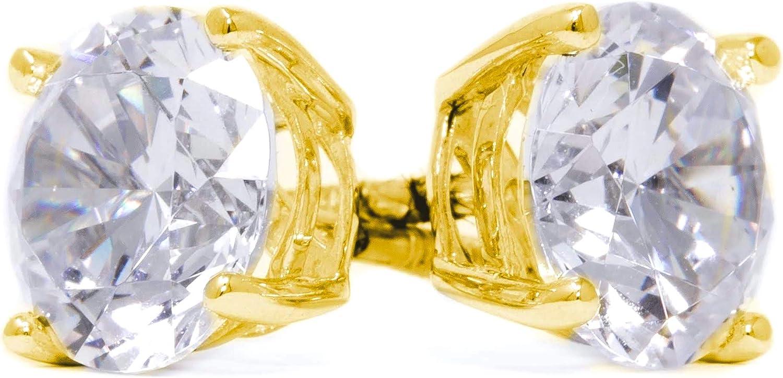 Diamond Stud Earrings for Men & Women, Mens Diamond Earrings, Diamond Studs, 14k Yellow Gold, 2 ct Round Cut Diamond Earrings, Screw Back Earrings for Men & Women [Simulated Diamond]