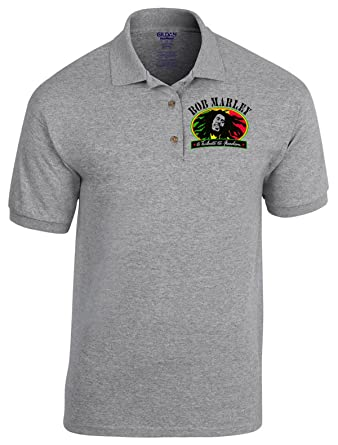 Bob Marley Jamaika Reggae Rock Rules Fun Music Poloshirt - 4067 - Grau (M)