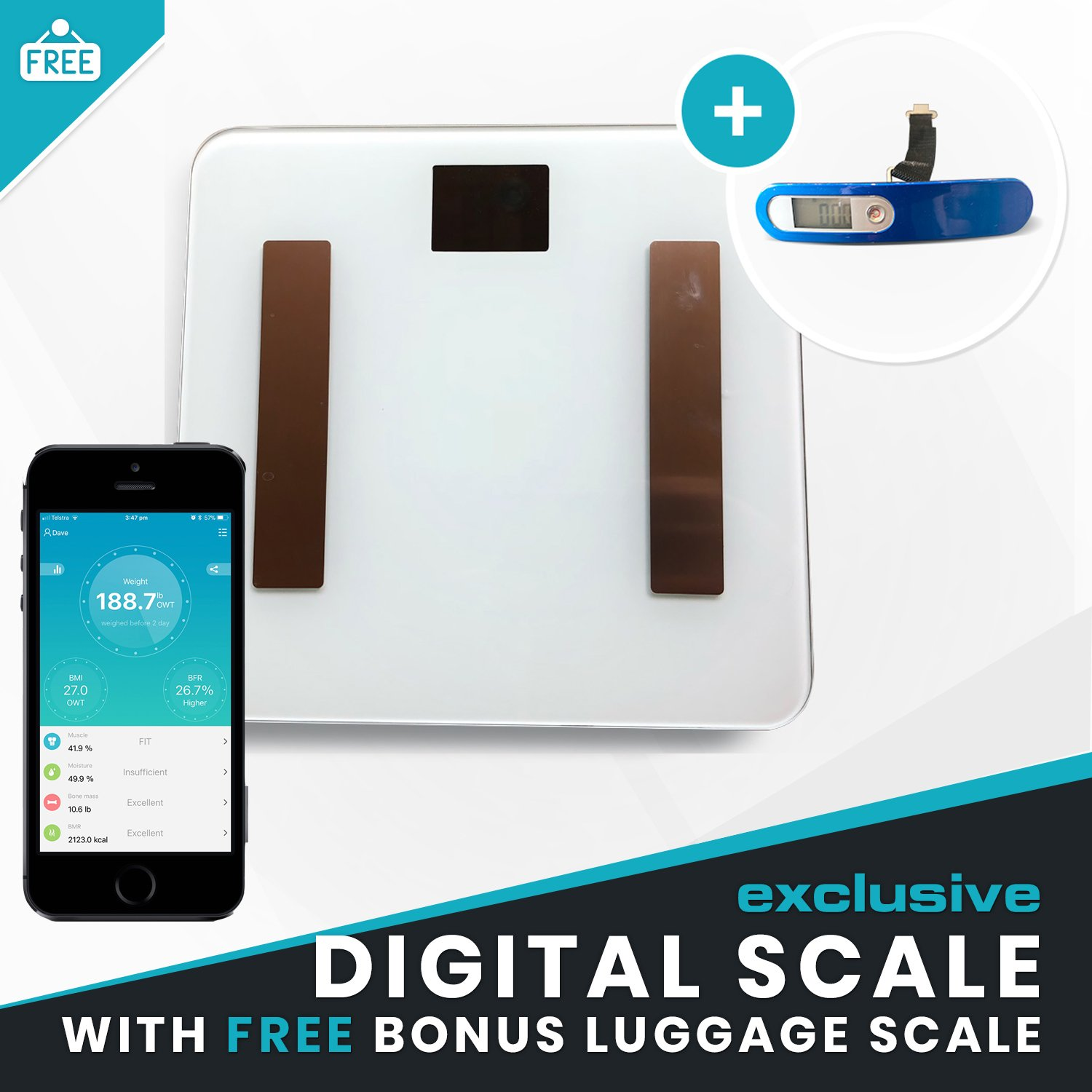 White Digital Bathroom Scale - Bonus Luggage Scale | Bluetooth App, BMI Body Composition, Fat Analysis, Hydration, Muscle & Bone Density. Sync with iPhone or Android & Health Integration Link