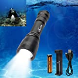 Diving Flashlight, VOLADOR 1000 Lumen Rechargeable Diving Flashlight Waterproof 150M LED Underwater Flashlight with 1x 18650 Battery and Charger