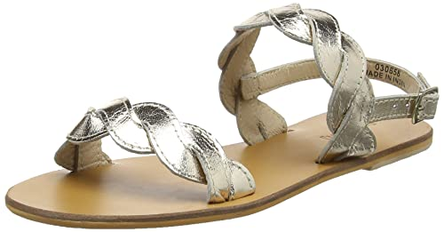 warehouse Scallop Two Part, Sandales Bride Cheville Femme, (Metallic 90), 41 EU