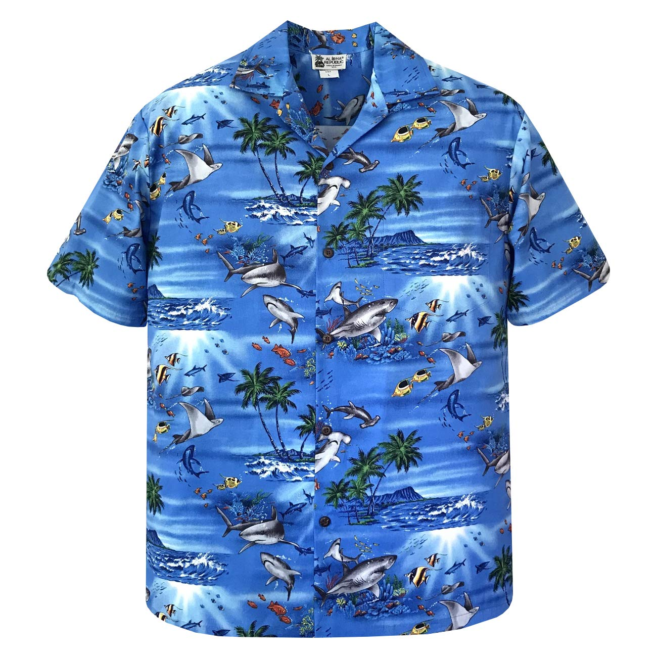 Great White Hammerhead Shark Stingray Hawaiian Shirt