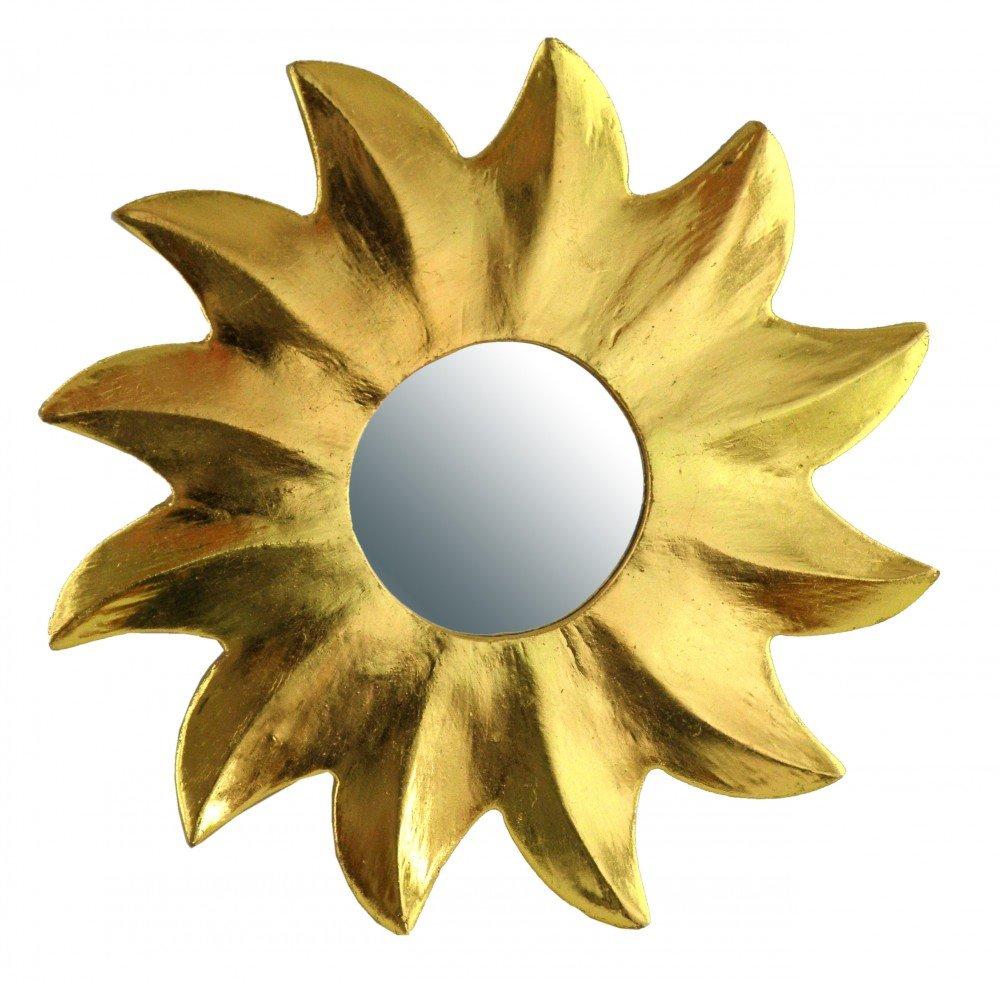 Decorazione murale Gold Kunsthandwerk Asien Decorazione a Forma di Specchio Golden Sun 7/Misure Legno 15 cm