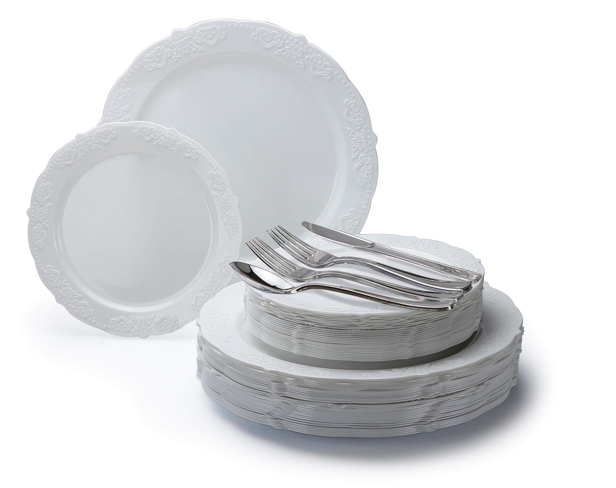 '' OCCASIONS'' 360 PCS / 60 GUEST Wedding Disposable Plastic Plate and Silverware Combo Set (Portofino White)