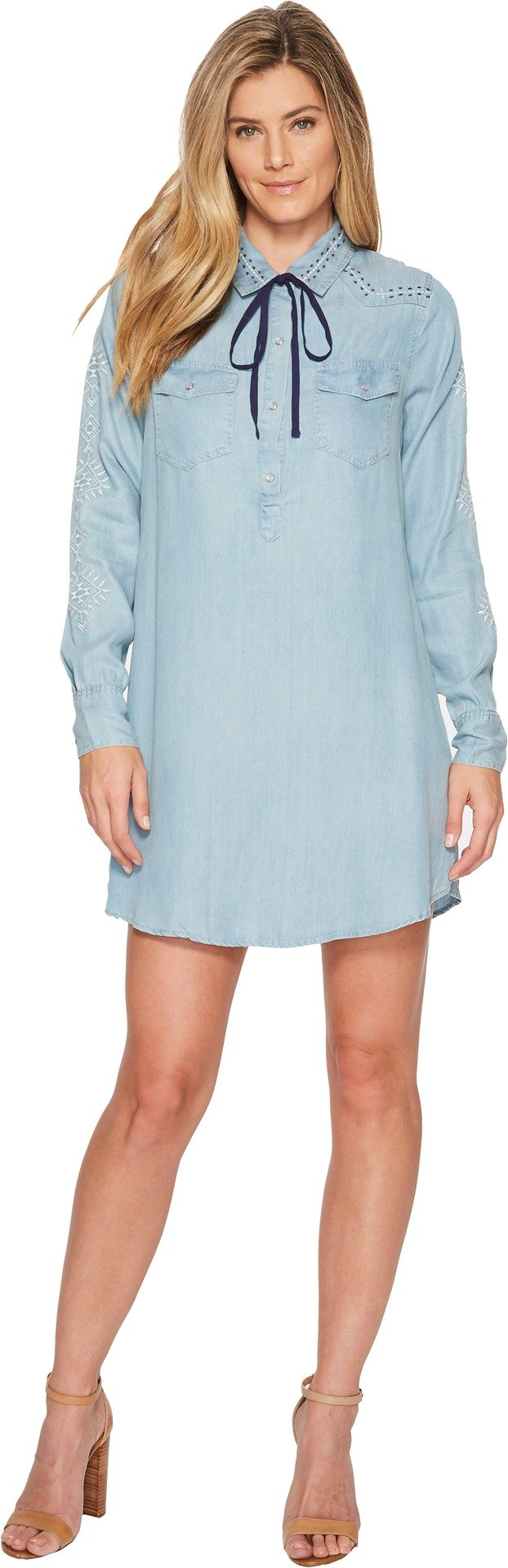 Miss Me Women's Embroidered Pearl Snap Denim Dress Indigo Small