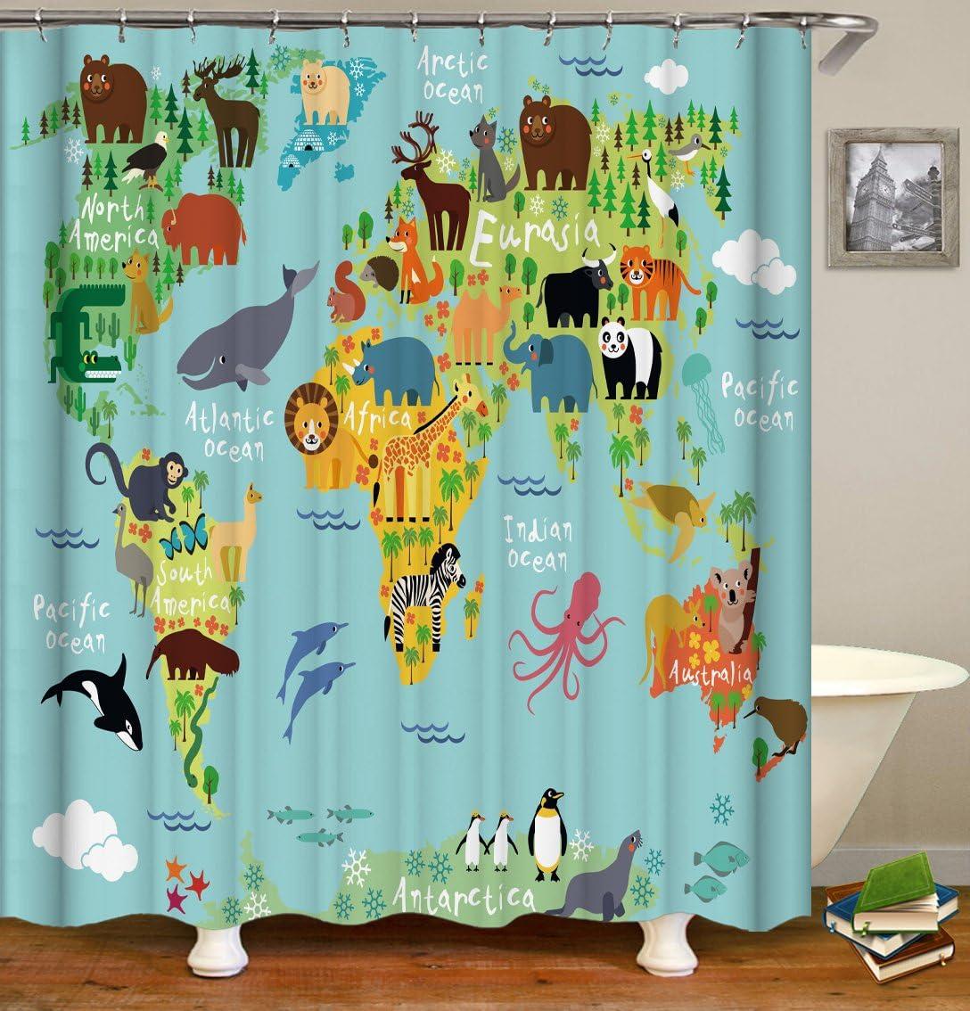 QCWN - Cortina de ducha con mapa de animales para niños y niños ...