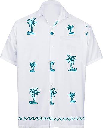 LA LEELA Mens Embroidered Button Down Short Sleeve Hawaiian Shirt L White/_W797