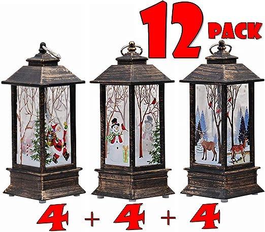 Christmas Hanging LED Candle Light Snowman Santa Claus Lantern Party Decor Gift