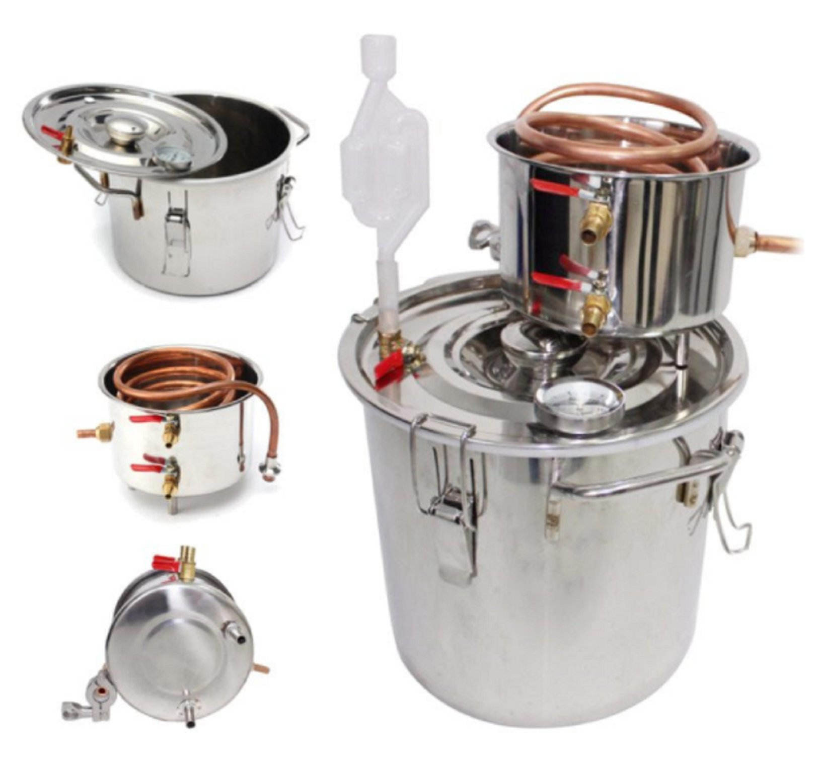 USA Premium Store 5 Gallon/20L Alcohol Moonshine Water Copper Home Stainless Alcohol Distiller by USA Premium Store