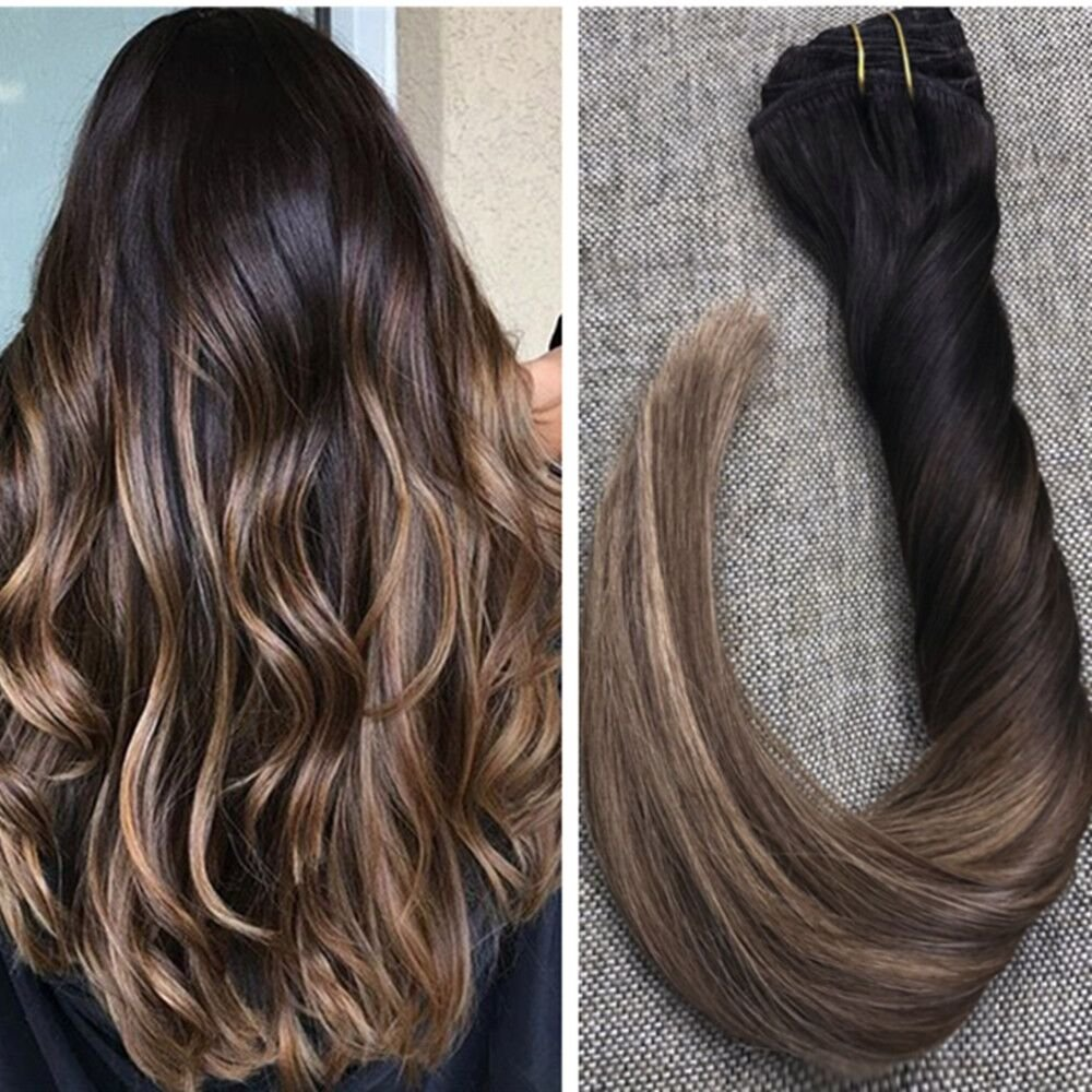 Ugeat 22inch 10Pcs 140Gram Full Head 100 Real Human Hair Clip in Ombre Real Hair Extensions Balayage Color Black #1B Fading to Color #4 Brown Mixed with #27 Thick Virgin Hair Clip in