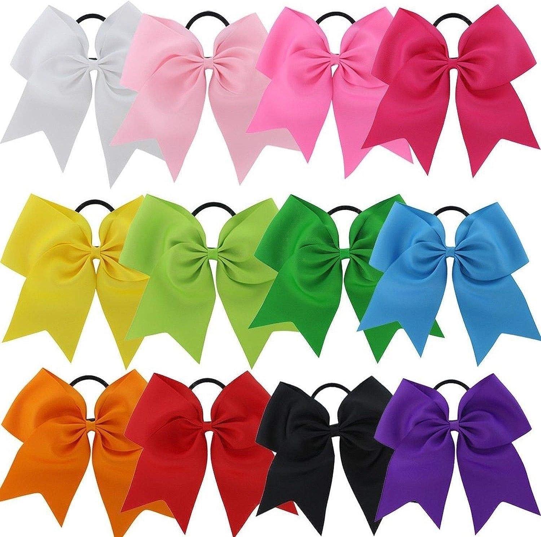 "USA Cheer Bows Ponytail Holder Girls 7/"" Large Softball Hair Bow Cheerleading Lot"