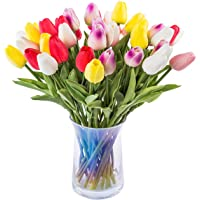 JOEJISN 30pcs Artificial Tulips Flowers Real Touch Multicolored Tulips Fake Holland PU Tulip Bouquet Latex Flowers for…