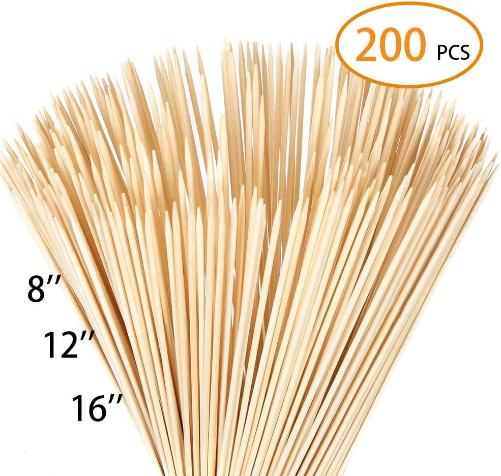 FLYPARTY Bamboo Skewers - 3mm Thick 8 Inch Premium Natural BBQ Bamboo S'Mores Skewers Marshmallow Roasting Sticks,Perfect for Hot Dog Kebab Sausage Camping Party Craft Projects(200Pcs)