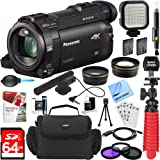 Panasonic HC-WXF991K HD Camcorder with Mini Zoom Microphone + 64GB SDXC Memory Card + Gadget Bag + Corel PaintShop Pro X9 + Microfiber Cloth + Memory Card Wallet + Card Reader + Tripod & More