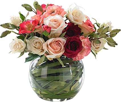 Bloom Globe Vase Of Artificial Pink Roses Faux Flowers That Look Real Artificial Silk Flowers Rustic Wedding Flowers Decorations Artificial Flower Arrangement Set In Resin Vase Included Amazon Co Uk Kitchen