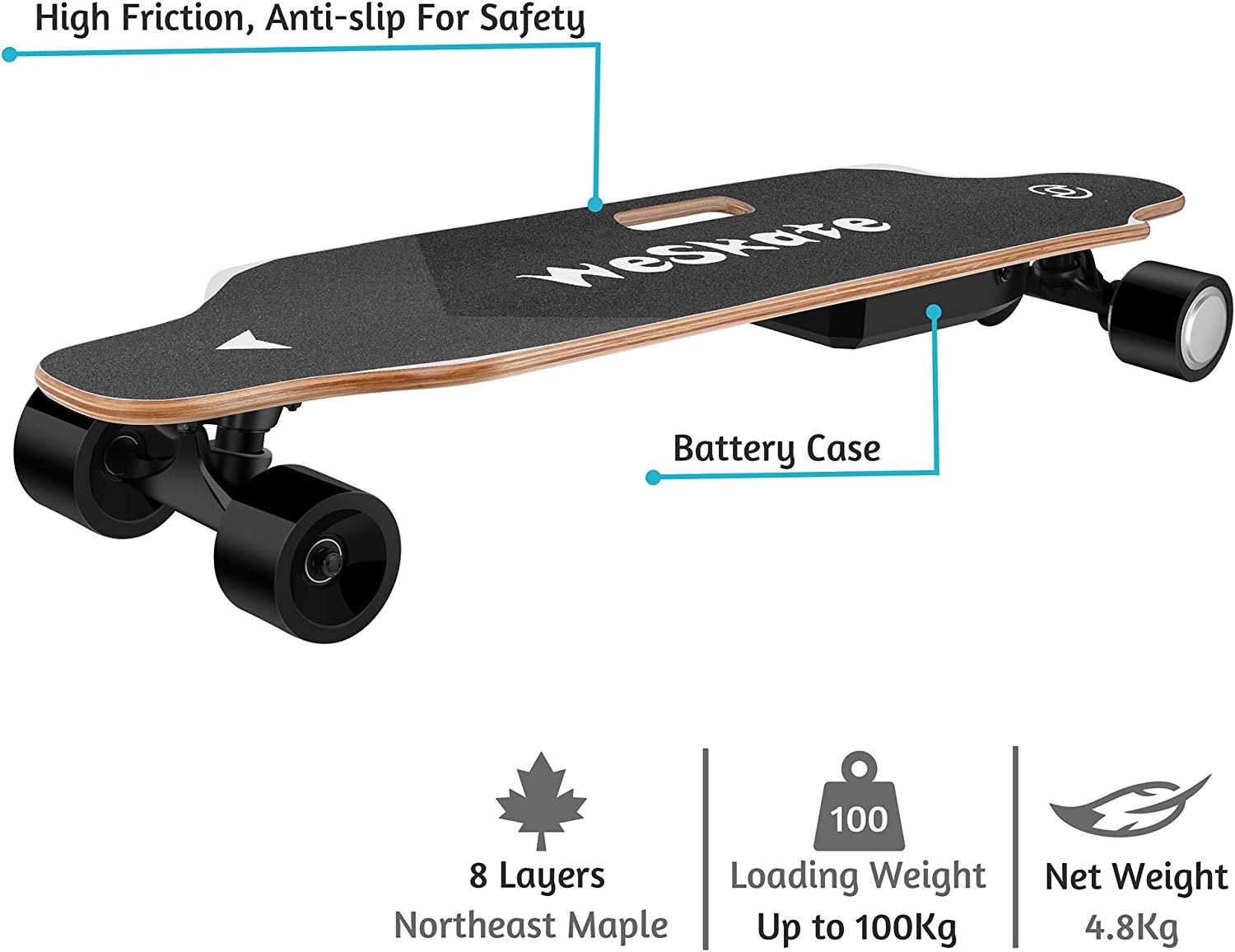 Free-Style and Downhill 8 Layers Maple Skateboard for Adults and Youths WeSkate Electric Longboard Wireless Remote Control Complete Skateboard Cruiser for Cruising Carving