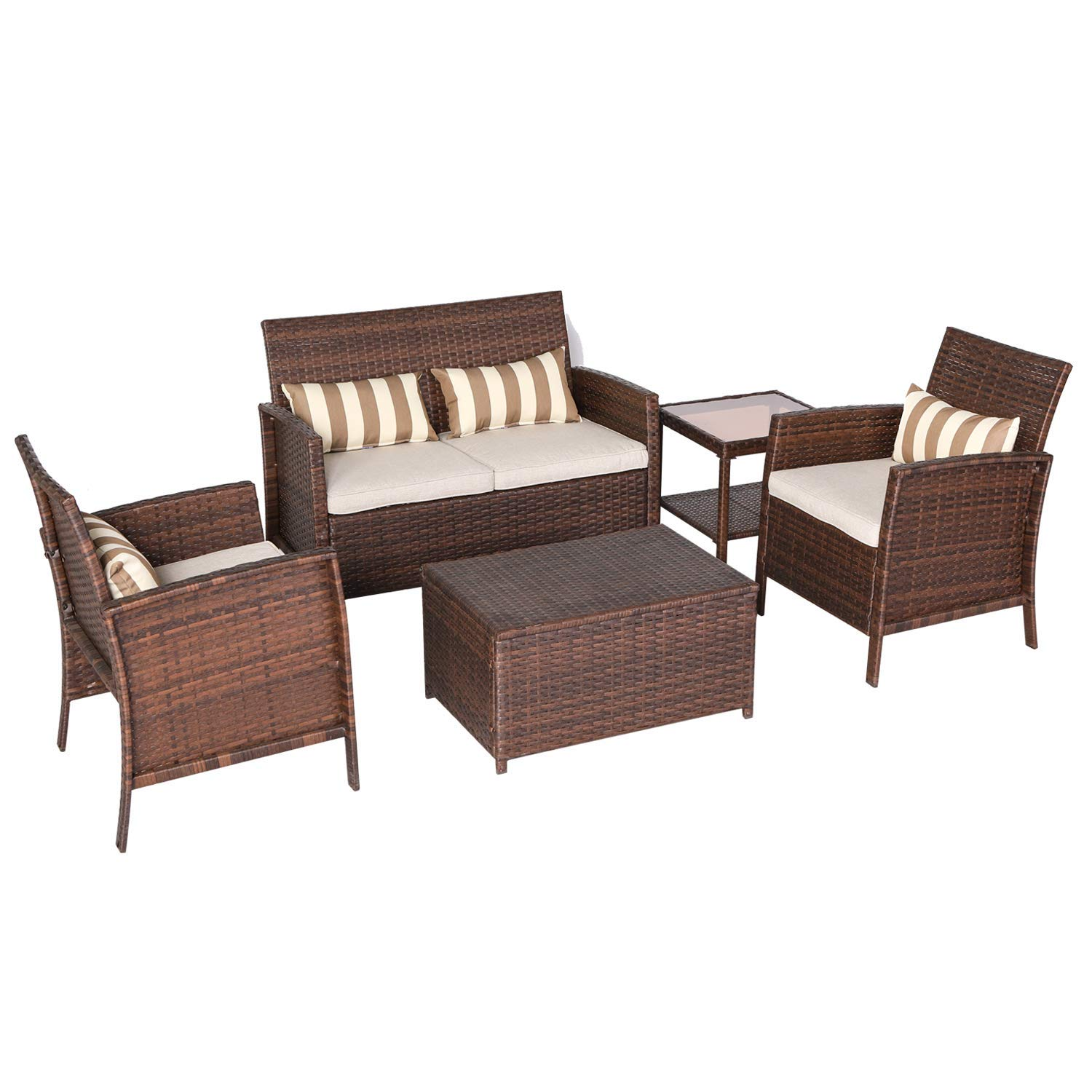Solaura 5-Piece Outdoor Furniture Brown Wicker Conversation Set with Light Brown Cushions & Coffee Table