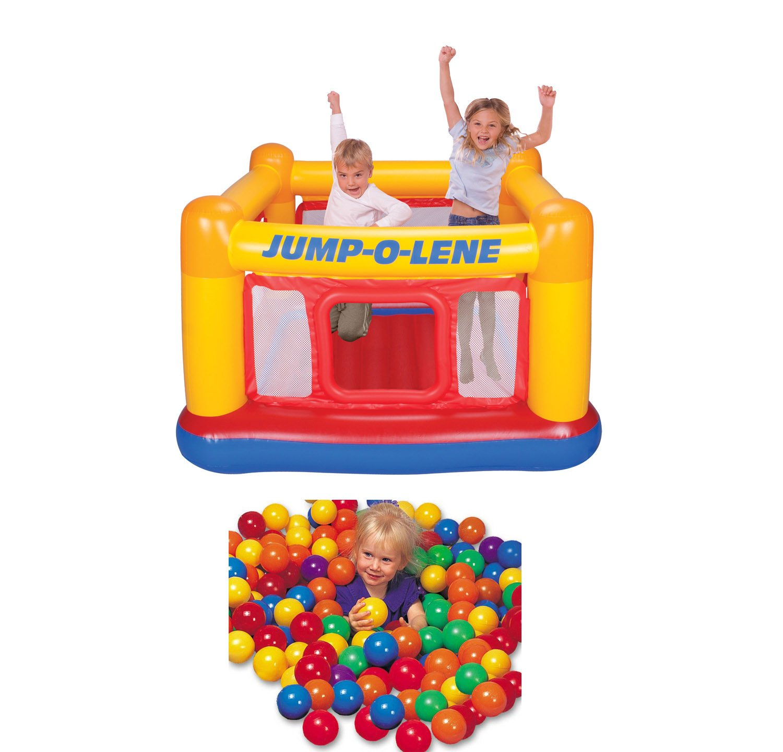 INTEX Inflatable Jump-O-Lene Ball Pit Bouncer Bounce House w/ 100 Play Balls