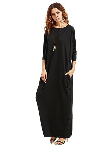 Verdusa Women's Casual Long Sleeve Oversized Loose Pocket Shift Maxi Dress