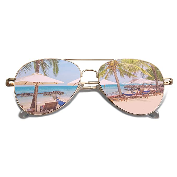 Amazon.com: SojoS SJ1030 lentes de sol planos, espejados ...